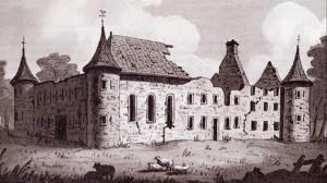Ruines du château fort de Longueuil tel qu'il apparaissait tout juste avant sa démolition vers 1810. Il avait été construit en 1698. Lavis de John Drake, 1825.