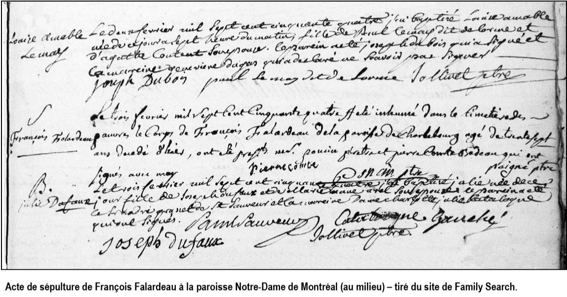 acte sépulture François Falardeau 1754